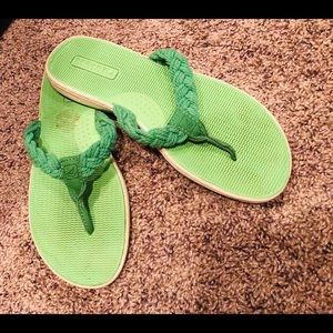 Sperry Top Sider Green Flip Flop Shoes. Size 8